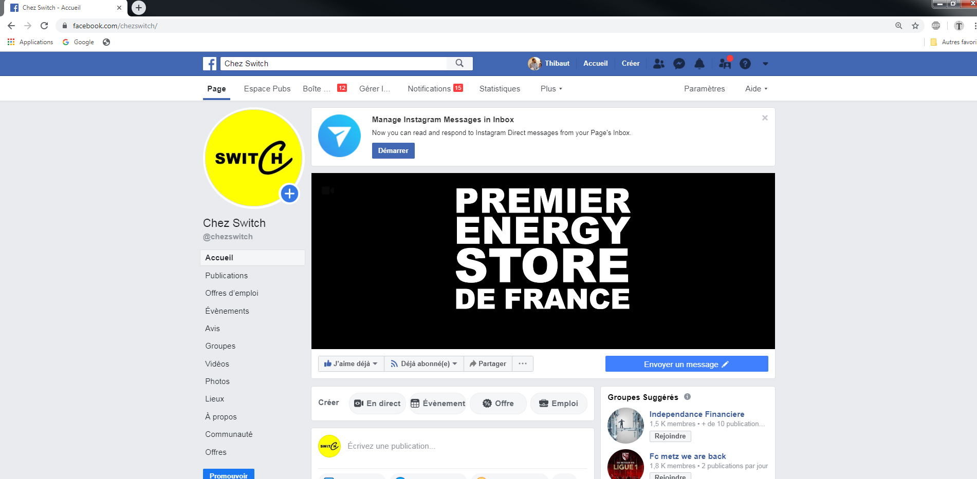Facebook CHEZ SWITCH